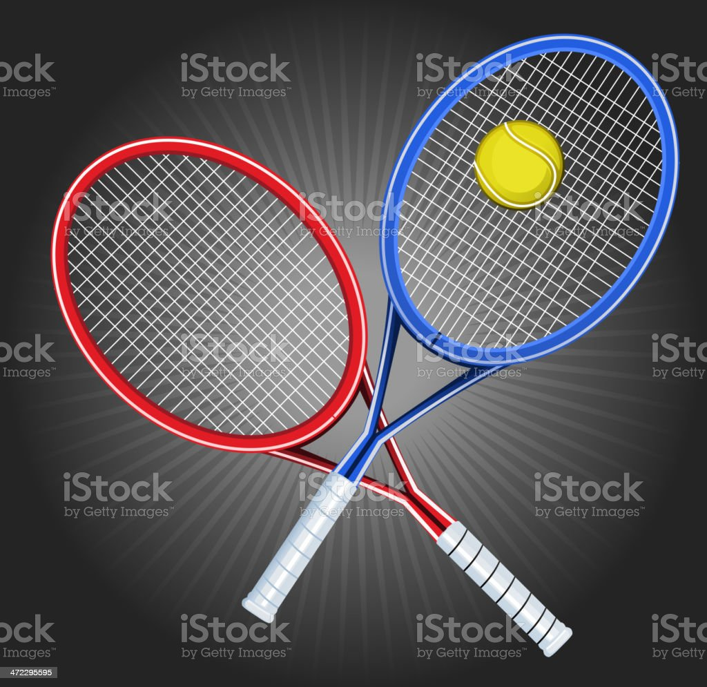 Tennis Blue and Red Opposed Rackets with yellow ball shinning royalty-free stock vector art