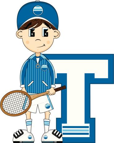 Tennis Boy Learning Letter T