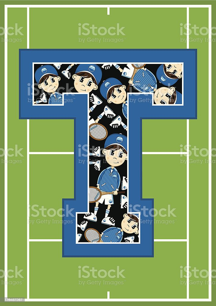 Tennis Boy Learning Letter T royalty-free tennis boy learning letter t stock vector art & more images of alphabet