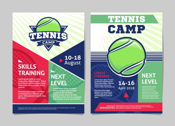 stockillustraties, clipart, cartoons en iconen met tennis kamp affiches, folder met tennisbal - vector sjabloonontwerp - tennis