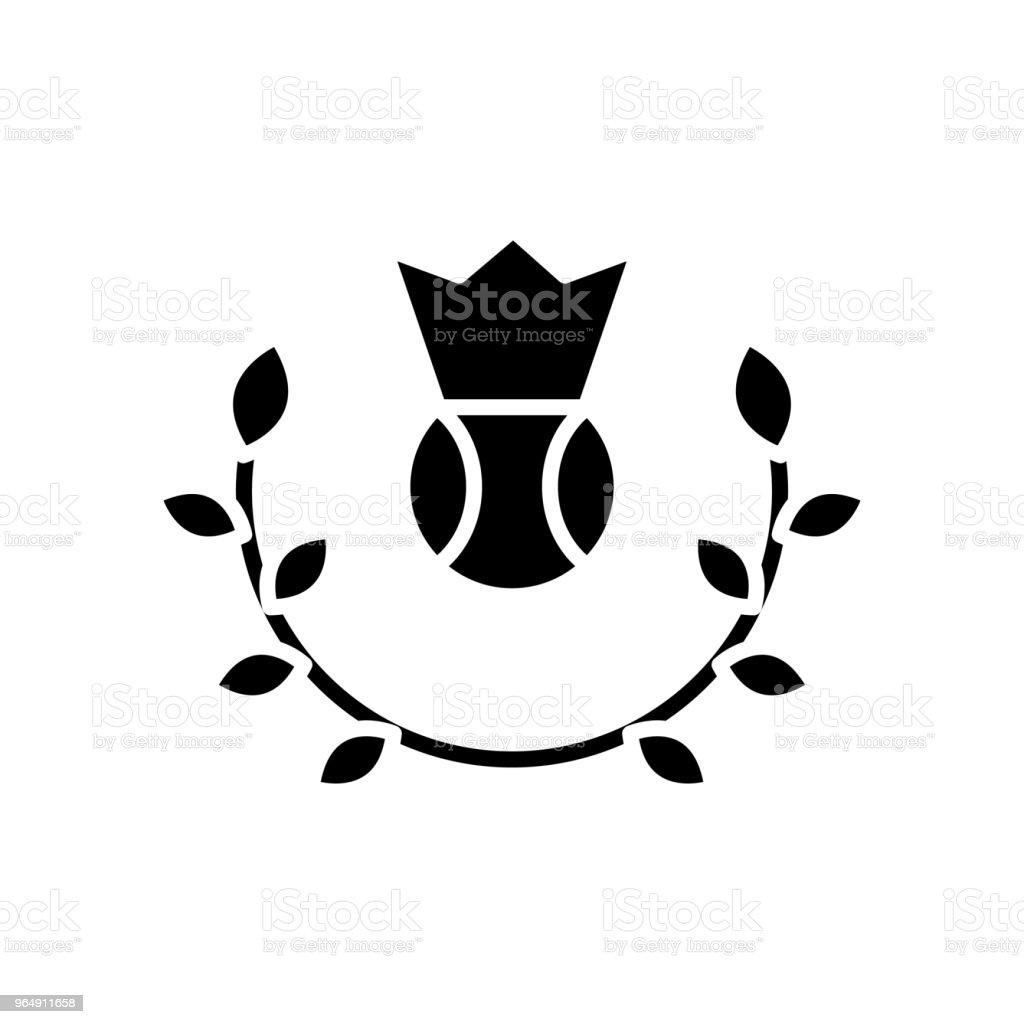 網球錦標賽黑色圖示概念。網球錦標賽平面向量符號, 符號, 插圖。 - 免版稅一組物體圖庫向量圖形