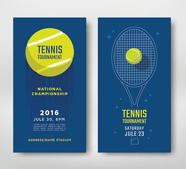 Tennis championship poster Tennis championship or tournament poster design. Vector illustration racket stock illustrations