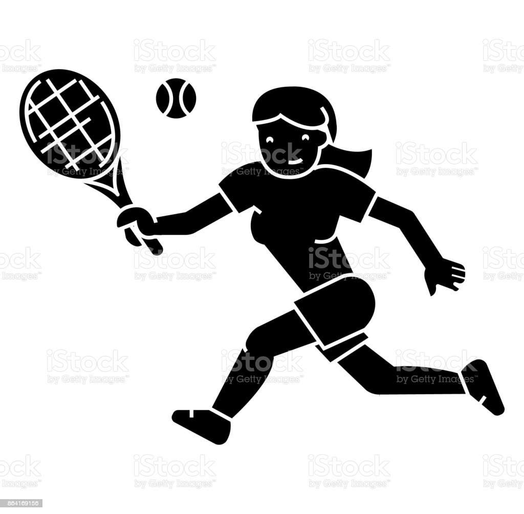 tennis championship, woman   icon, vector illustration, sign on isolated background vector art illustration