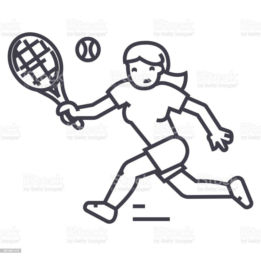 tennis championship,woman  vector line icon, sign, illustration on background, editable strokes vector art illustration