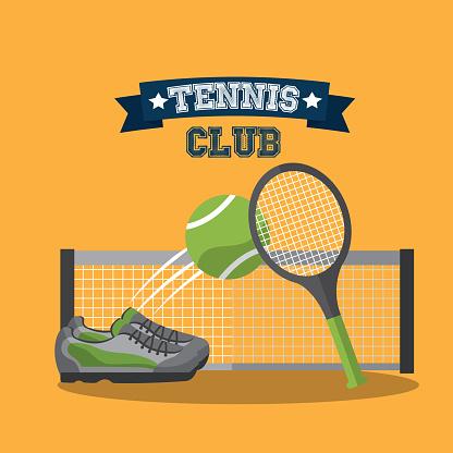 tennis club racket ball sneaker and grid banner