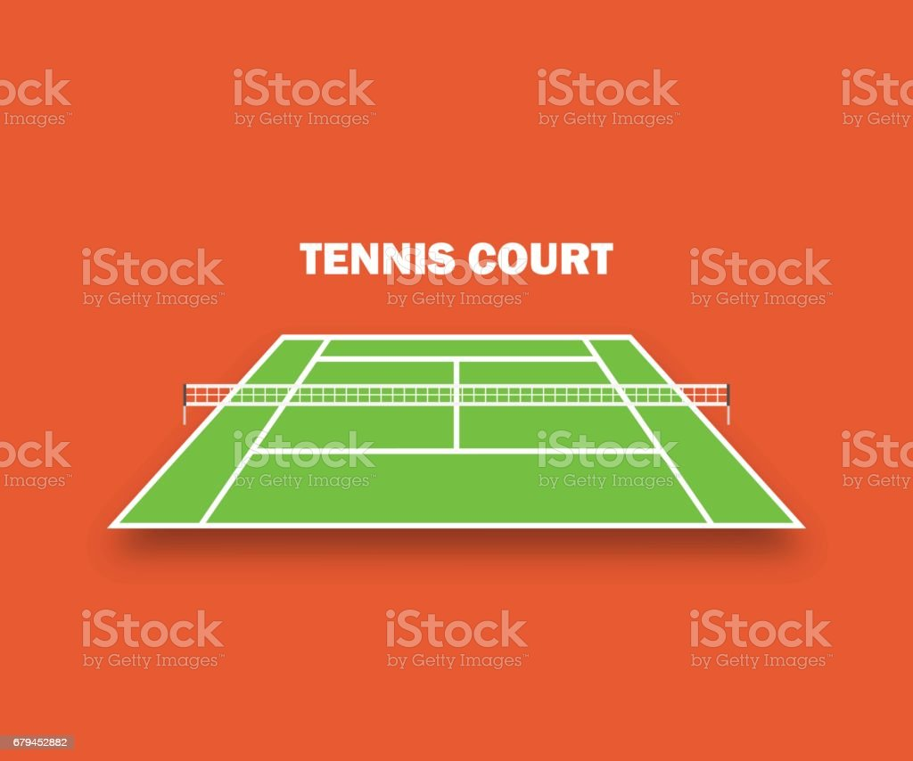 Tennis court, and with shadow. Vector illustration vector art illustration