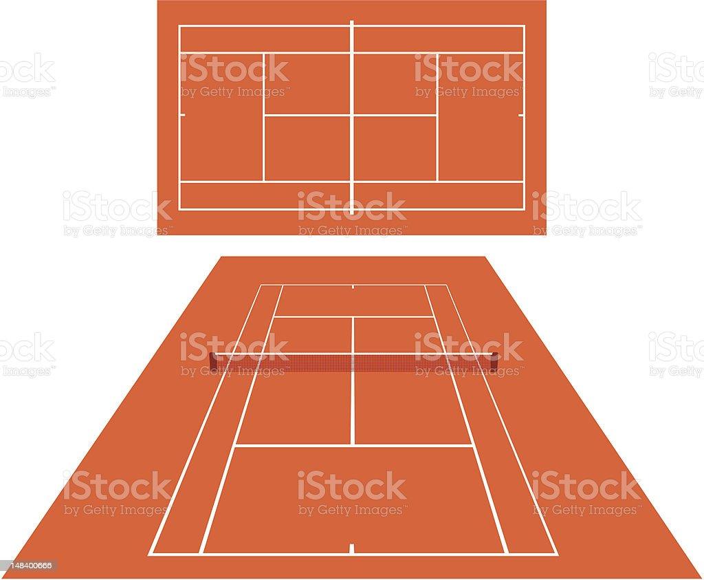 Tennis court dross vector art illustration