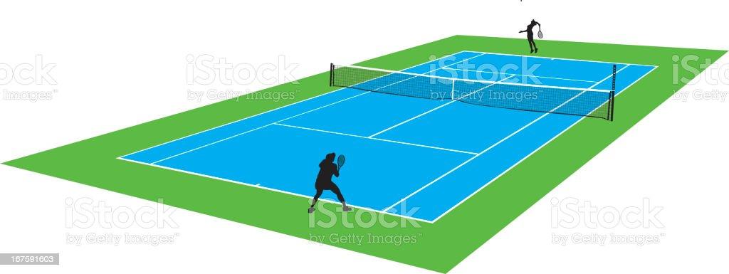 Tennis Court - Female Players vector art illustration