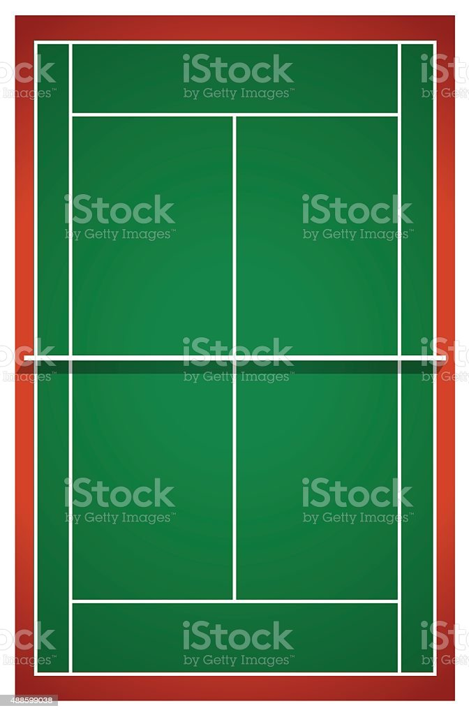Tennis court from top view vector art illustration