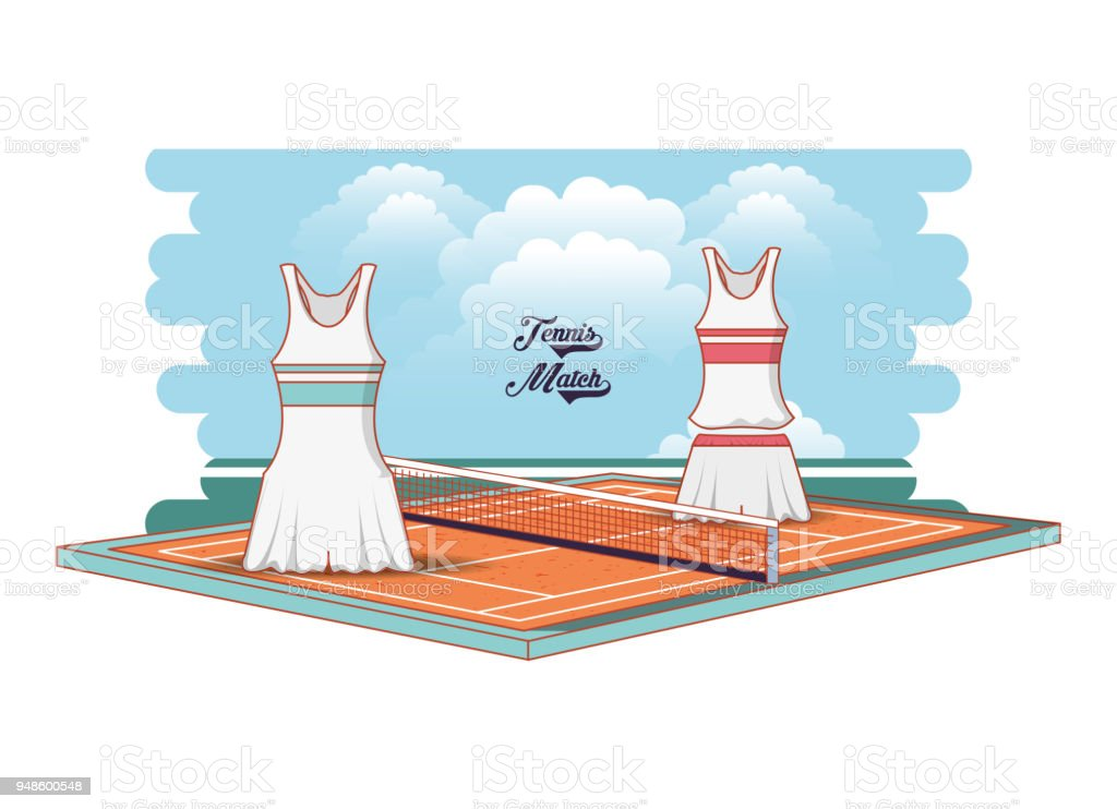 tennis court game with female clothing vector art illustration