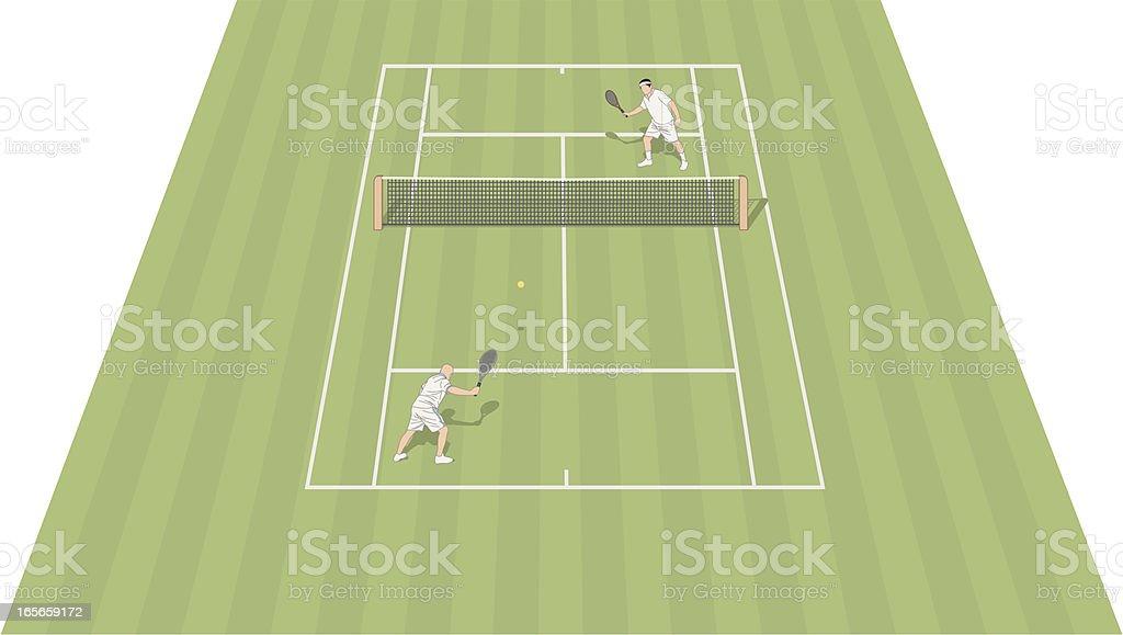 Tennis Court Grass vector art illustration