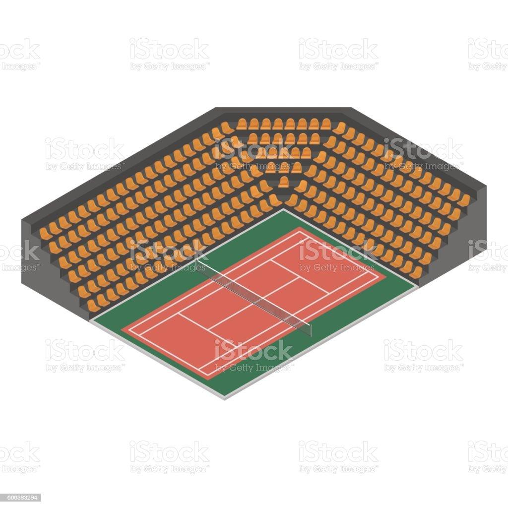 Tennis court isometric, vector illustration. vector art illustration