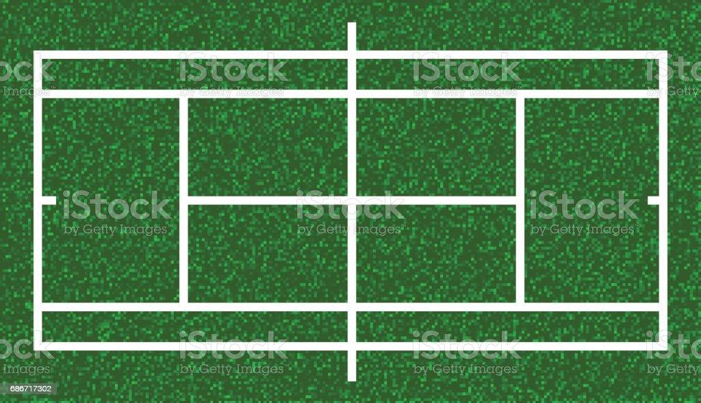 Tennis court, lawn grass. Vector vector art illustration