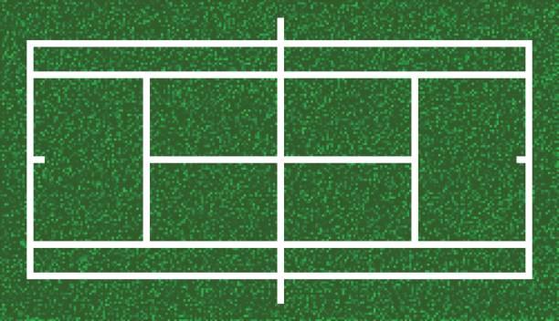 tennisplatz, rasengras. vektor - wimbledon stock-grafiken, -clipart, -cartoons und -symbole