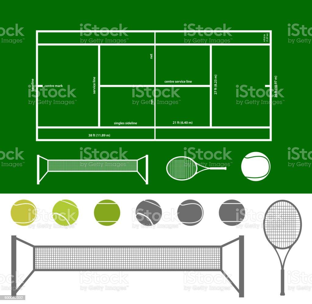 Tennis Court Scheme And Stuff Stock Illustration - Download
