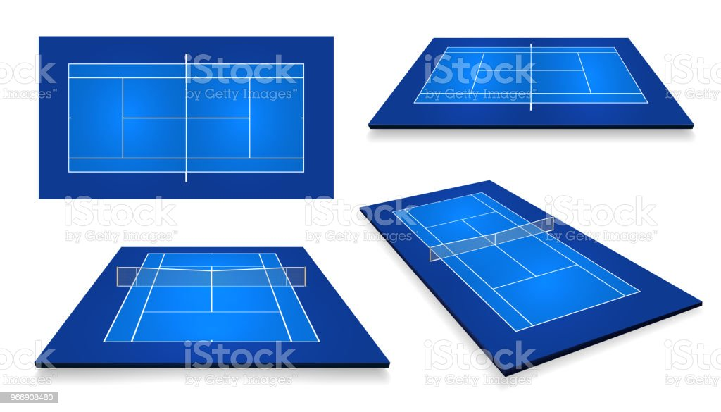 Tennis court . Top view and different perspective, eps10 vector vector art illustration