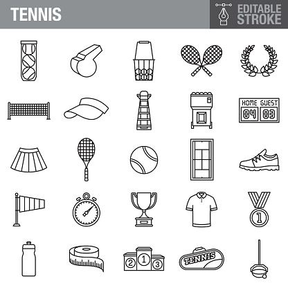 Tennis Editable Stroke Icon Set