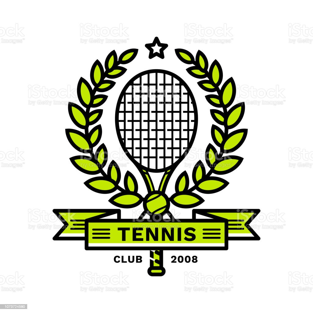 592c8ba0a356b Emblème de tennis, illustration, style de ligne moderne, couleur verte, sur  un