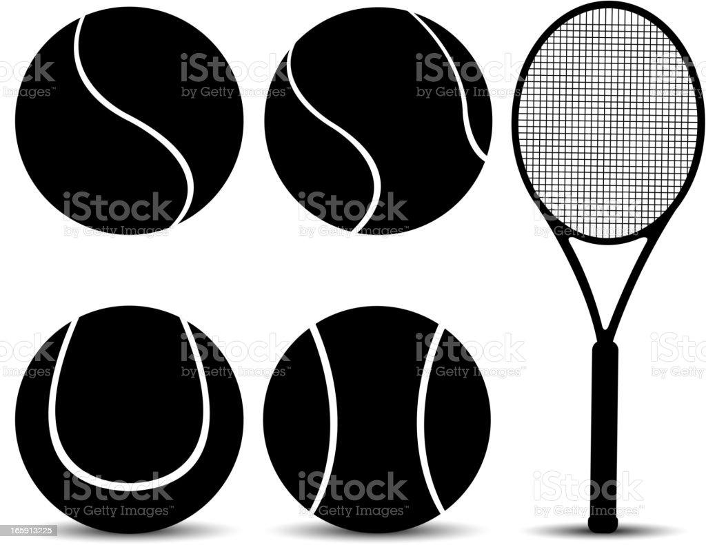 tennis equipment silhouette vector art illustration