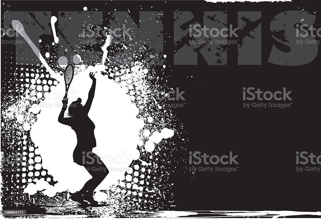 Tennis Female Grunge Background vector art illustration