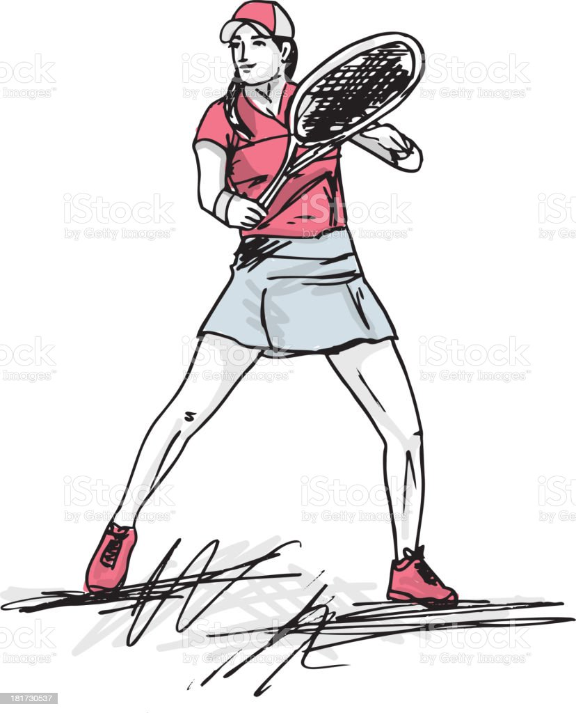 Tennis, Female Player royalty-free stock vector art