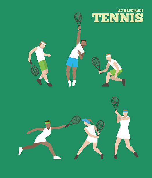 tennis abbildung völker - wimbledon stock-grafiken, -clipart, -cartoons und -symbole