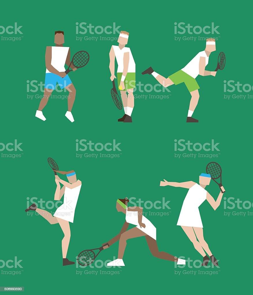 Tennis figure peoples vector art illustration