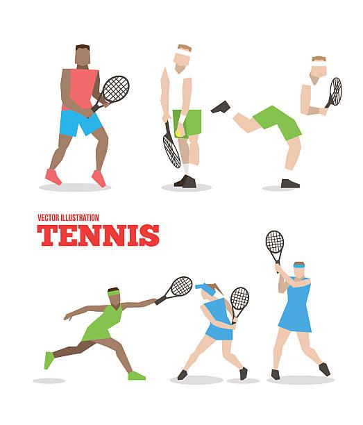 tennis abbildung völker mit tennisschläger set. - wimbledon stock-grafiken, -clipart, -cartoons und -symbole