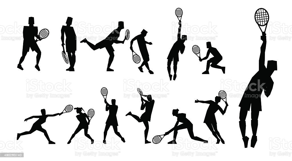 Tennis figure peoples with tennis racket set. vector art illustration