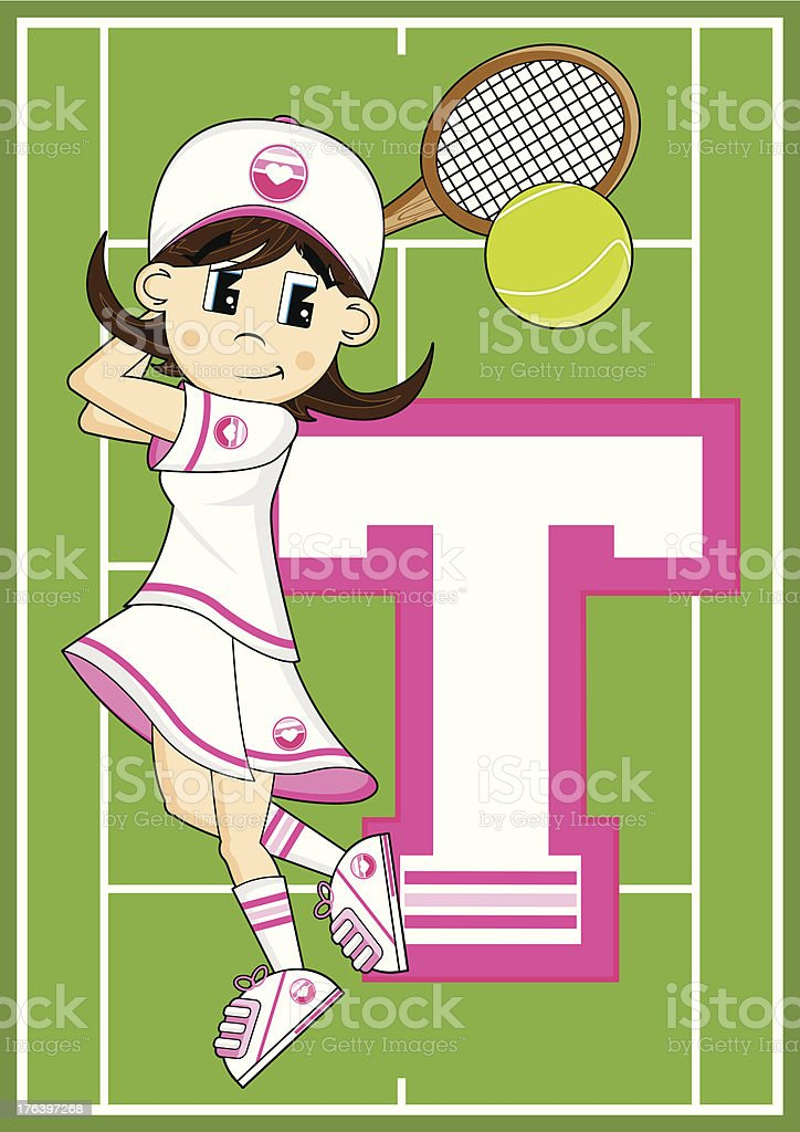 Tennis Girl Learning Letter T royalty-free tennis girl learning letter t stock vector art & more images of alphabet