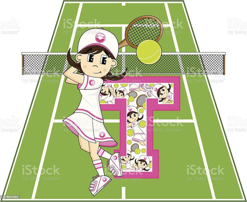 Tennis Girl Learning Letter T royalty-free tennis girl learning letter t stock vector art & more images of alphabet