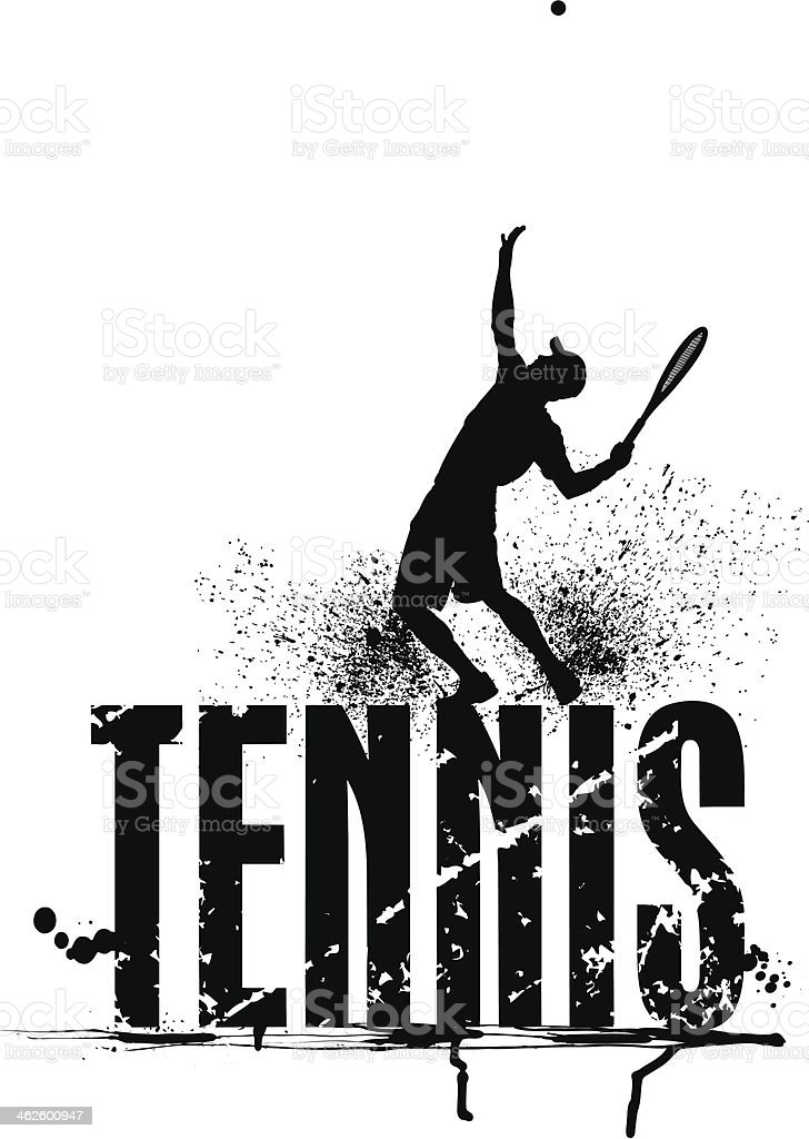 Tennis Grunge Graphic - Male Serving royalty-free stock vector art