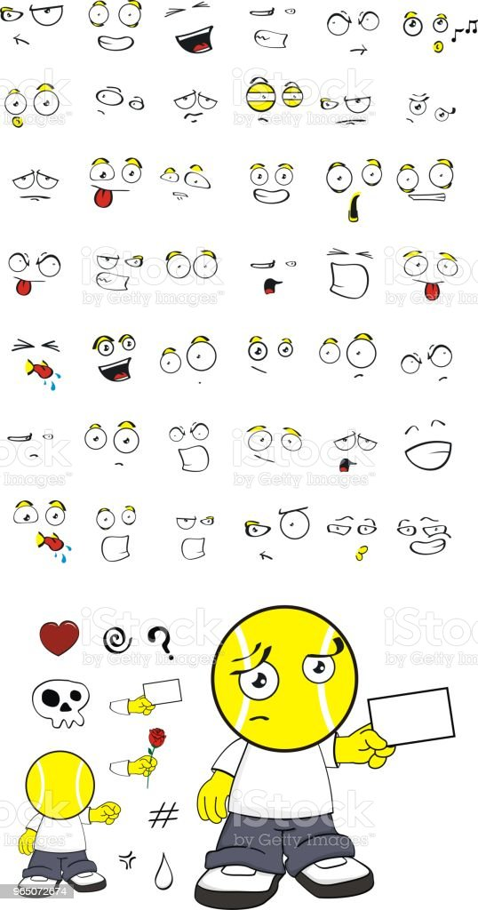 tennis head kid expressions set royalty-free tennis head kid expressions set stock vector art & more images of anger