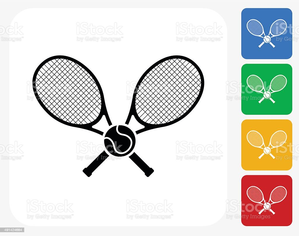 Tennis Icon Flat Graphic Design vector art illustration
