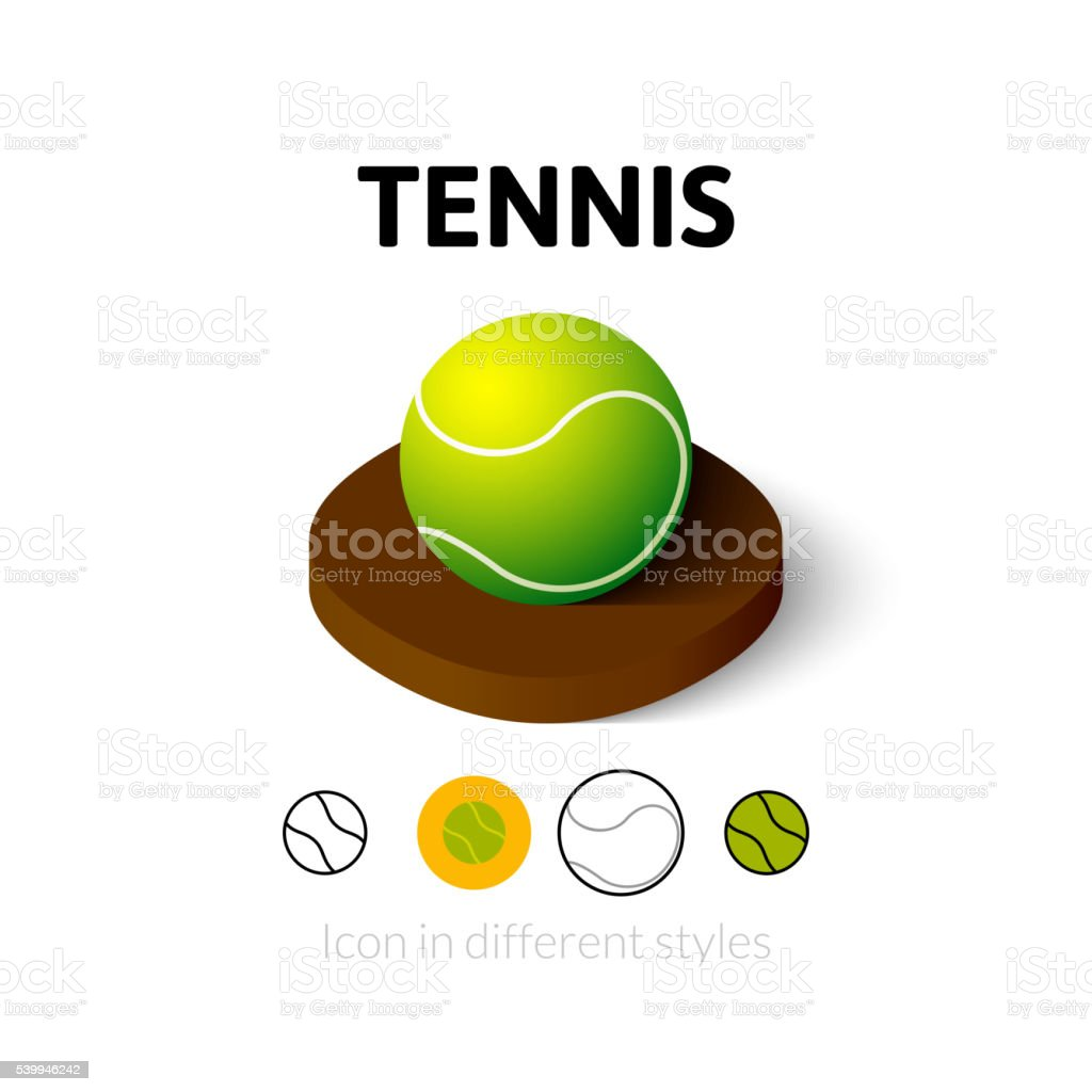 Tennis icon in different style vector art illustration