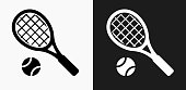 Tennis Icon on Black and White Vector Backgrounds