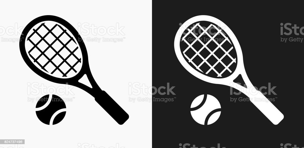 Tennis Icon on Black and White Vector Backgrounds vector art illustration