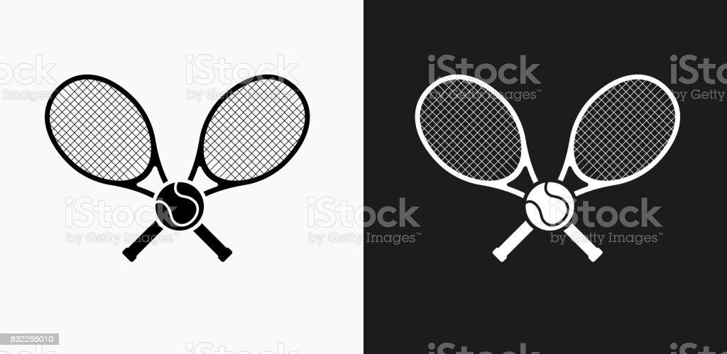 Icône de tennis sur fond de Vector noir et blanc - Illustration vectorielle