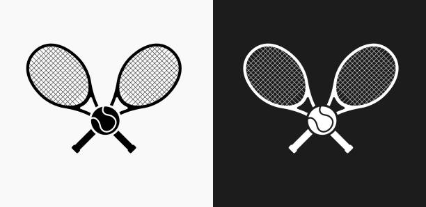 Tennis Icon on Black and White Vector Backgrounds Tennis Icon on Black and White Vector Backgrounds. This vector illustration includes two variations of the icon one in black on a light background on the left and another version in white on a dark background positioned on the right. The vector icon is simple yet elegant and can be used in a variety of ways including website or mobile application icon. This royalty free image is 100% vector based and all design elements can be scaled to any size. racket stock illustrations