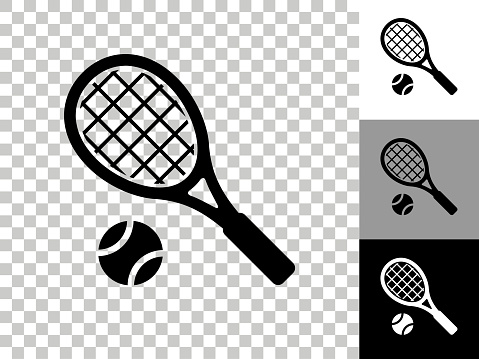 Tennis Icon on Checkerboard Transparent Background