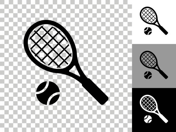 Tennis Icon on Checkerboard Transparent Background vector art illustration