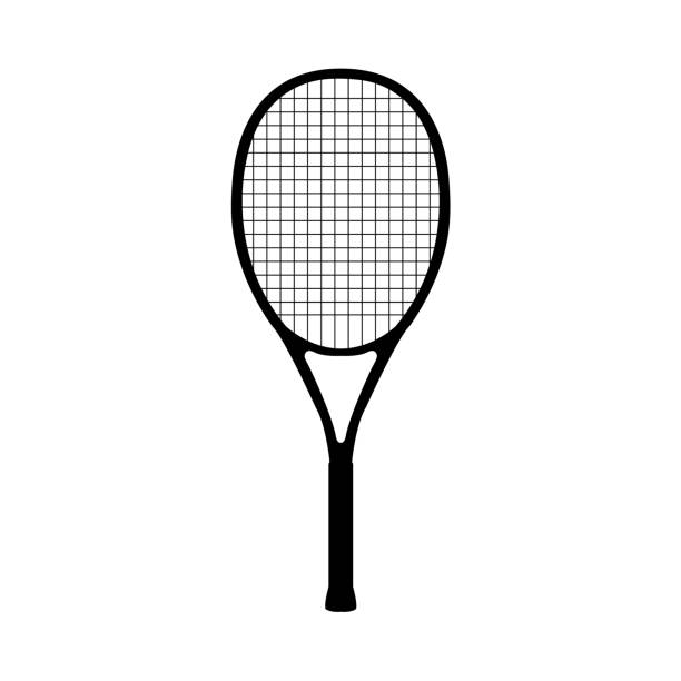 Tennis icon on white background Tennis icon on white background racket stock illustrations
