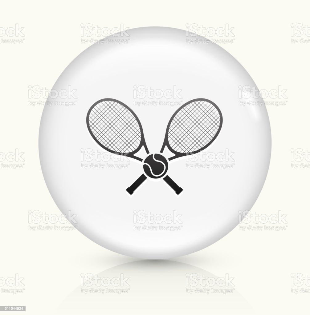 Tennis icon on white round vector button vector art illustration