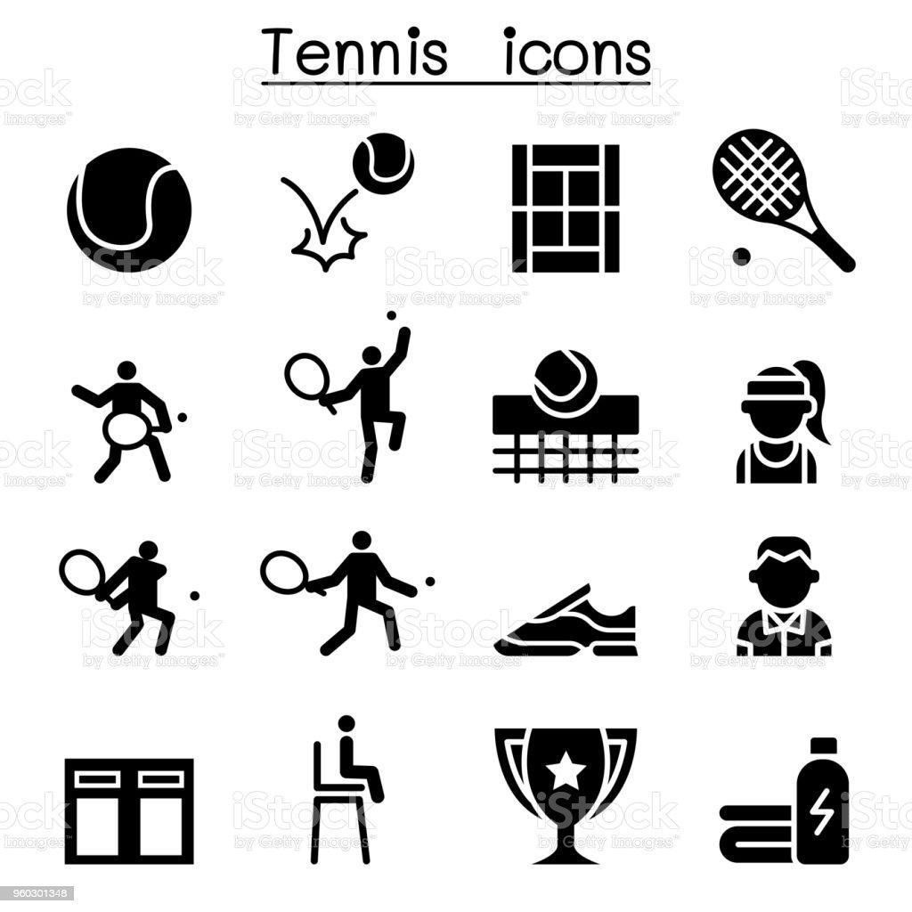 Tennis icon set illustration graphic design vector art illustration