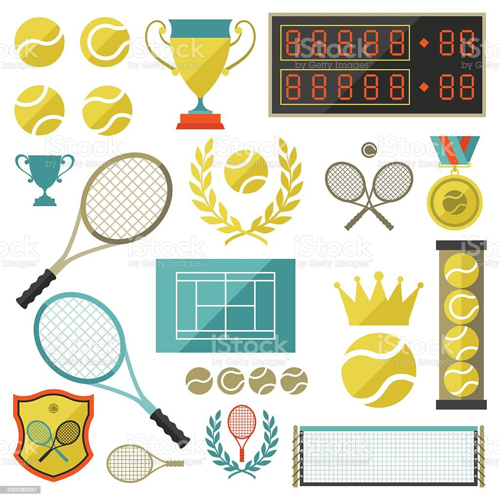 Tennis icon set in flat design style. vector art illustration