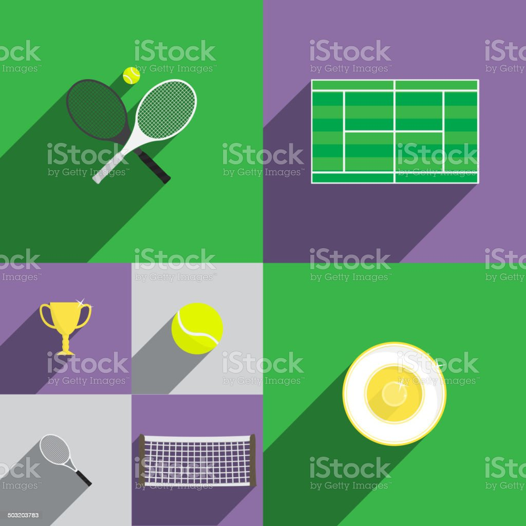Tennis-Ikone in flachen Stil mit Schläger, Tennisplatz, Cup, – Vektorgrafik