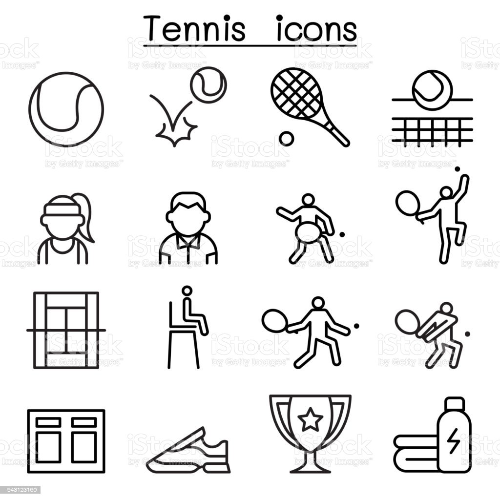 Jeu d'icônes de tennis dans le style de ligne fine - Illustration vectorielle
