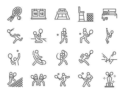 Tennis icon set. Included icons as doubles tennis, tennis player, match, serve, forehand, backhand and more.