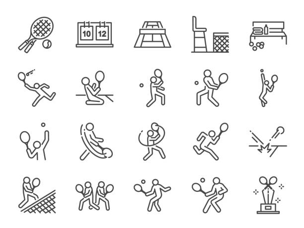 ilustraciones, imágenes clip art, dibujos animados e iconos de stock de conjunto de iconos de tenis. incluye iconos como dobla tenis, tenista, match, servicio, derecha, revés y mucho más. - tenis