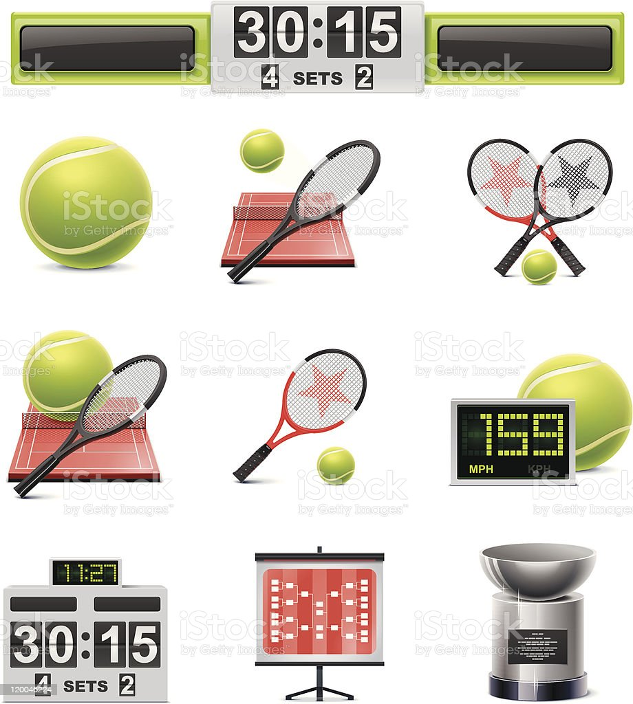 Tennis icon set royalty-free stock vector art